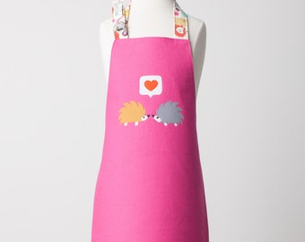 Toddler/KId Size Double Sided Appliqué Hedgehogs in Love Apron