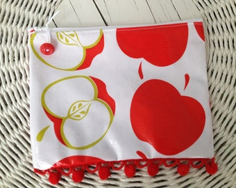 All purpose zippered pouch with ripe red apples