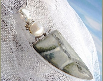 Jasper Pearl Combination - 925 Sterling - Necklace  DC 8632