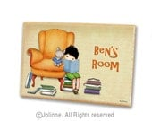 Personalized children door sign, boys room sign, kids wall art, books theme, nursery art