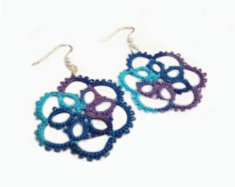 Tatted Lace Earrings , Multicoloured - Aster