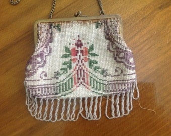 1920's Glass Beaded Evening Bag Victorian pattern vintage FREE shipping US only