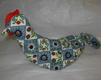 Vintage Potholder Chicken from Cotton Flour Sack Fabric