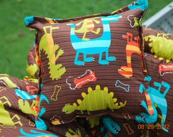 TWIN (Dino Dudes) Shopping Cart Cover - Custom Boutique Shopping Cart Cover, Restaurant High Chair Cover, Park Swing Cover, Grocery Cart