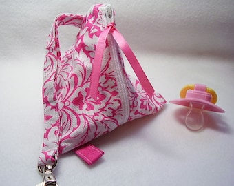 Pink Damask Pacifier/Small Bag/ Zippered/Triangle/Pyramid/ Pouch/ Phone Pod/Purse/Coin Purse/Gift Bag/ Wristlet