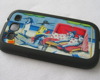 Sailfish Cay Samsung Galaxy 3 rubber case lady fish lounging on the beach smartphone android