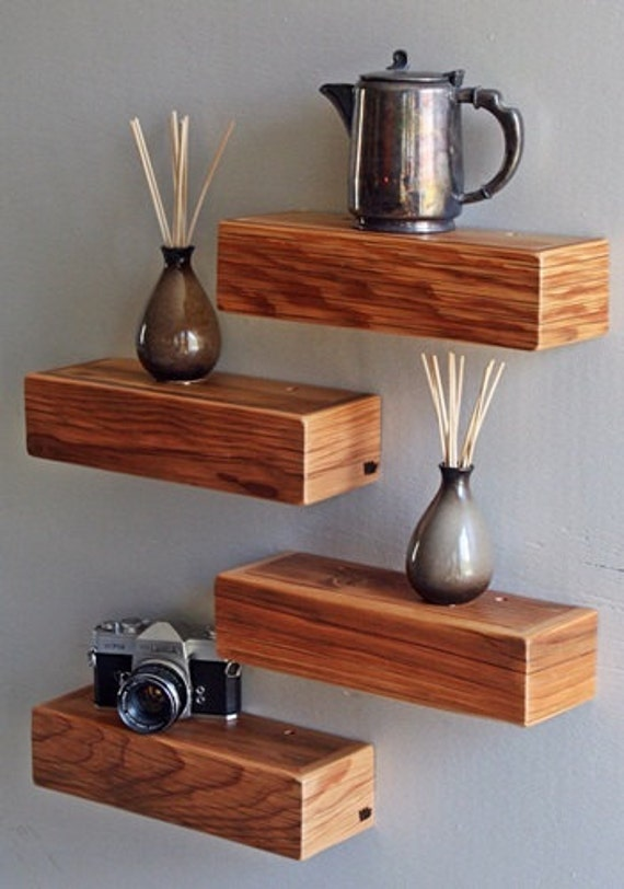 Small Rustic Modern Barnwood Floating Shelf