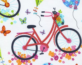 oop htf one yard Day in The Park Timeless treasures Fabric Multicolored Bicycles Butterflies Kites Bike on White