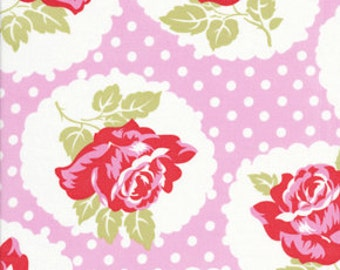 Delilah By Tanya Whelan Fabric 41 LuLu Rose Spring Roses Floral Polka Dots on Pink