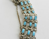 1950 Beautiful bracelet - silver and turquoise cabochons - beautifully retro--Art.598/2--