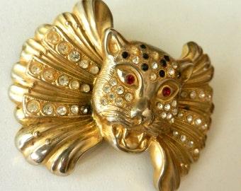 Vintage 1970s large feline figure brooch, many crystals on gold - original tiger/cat brooch-Art.348/2 -