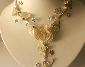 60s Bright Italian bride Y necklace  - flowers and silver leafs & crystals -adorable jewel for young brides  -art.647/2-
