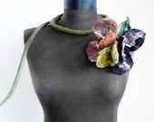 felt autumn necklace, flowers lariat, eco friendly necklace, statement necklace, christmas gift