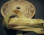 Vintage 30s deco yellow damask ribbon embroidered lingerie straps 5/8 inch J112