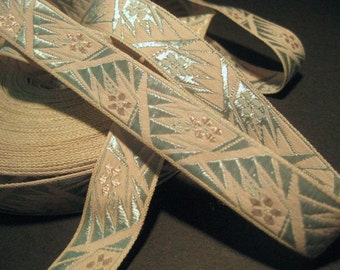 Vintage deco damask ribbon embroidered trim pale blue pink J117