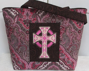Pink and Brown Gothic Cross Large Tote Bag Damask and Paisley Purse Ready To Ship