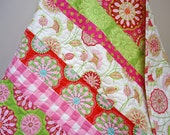 Baby Girl Quilt, Crib Bedding, Gypsy Bandana, Pink and Green