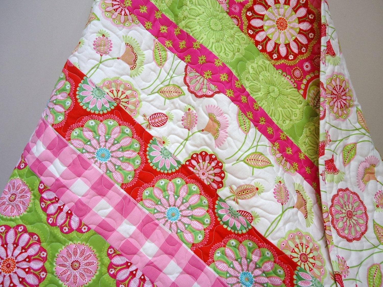 Baby Girl Quilt Crib Bedding Gypsy Bandana Pink And Green