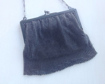 Antique Gun metal Mesh handbag  Purse Victorian circa 1800s Silk lined   Chatelaine