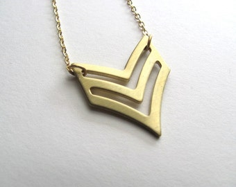 Chevron cutout pendant bib necklace on 14k gold plate chain, vintage pendant, upcycled jewelry
