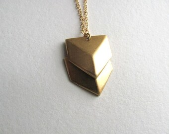 Tiny double chevron pendant necklace on 14k gold plate chain, repurposed vintage geometric jewelry