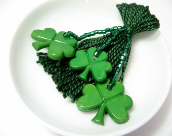 Green Shamrock Beaded Tassel St Patrick's Day