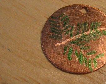 Fall Jewelry - Leaf Engraved and Painted Metal Pendant Charm Medallion