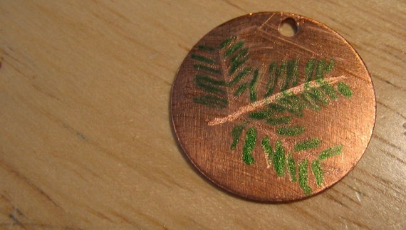 Canadian Hemlock engraved on copper and colored