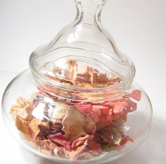 Dried Roses and Geraniums in Decorative Jar