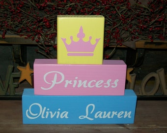 Girls Princess Crown Three Piece Primitive Wood Block Sign Nursery Room Decor Personalized Kids Names