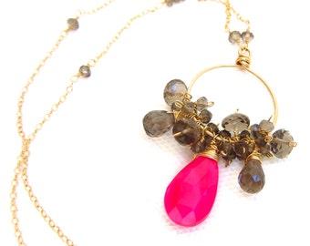 Pink Chalcedony Necklace, Brown Smokey Quartz, 14k Gold Wire Wrapped Hoop, Hot Pink Gemstone, Handmade Jewelry by Sonja Blume