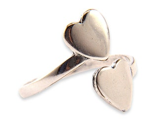 Heart Ring - Silver White Bronze - Adjustable
