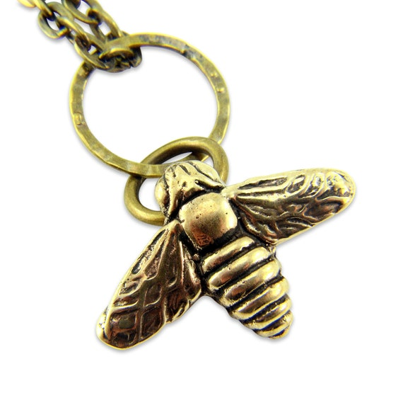 Bee Necklace - Bronze Flying Honey Bumble Bee Charm Necklace - by Gwen DELICIOUS Jewelry Design 042