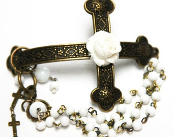 Cross & Rose Bracelet with Glass Vintage Beads