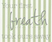 Your First Breath - green stripes, 8x10, INSTANT DOWNLOAD