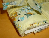 Hand Torn Vintage Ribbon • yellow floral • 10 yards X 1 inch