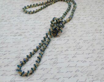 Woven Rope Necklace Extra Long Deep Blue AB