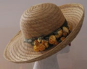 Straw Hat with Yellow Flowers and Wide Brim