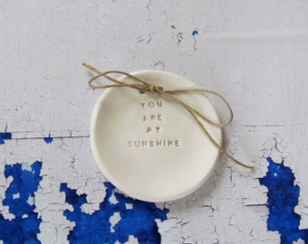 Ring pillow alternative You are my sunshine Wedding ring bearer Wedding Ring dish Ceramic ring holder Aternative ring bearer pillow