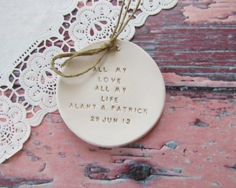 Personalized Wedding ring bearer, All my love All my life Ring dish, Custom Ceramic ring dish, Ring bearer pillow alternative