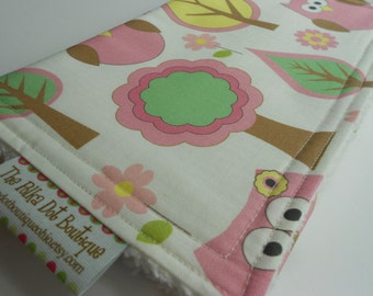 Baby Girl  CHENILLE BURP CLOTH  - - Forest Owls in Pink