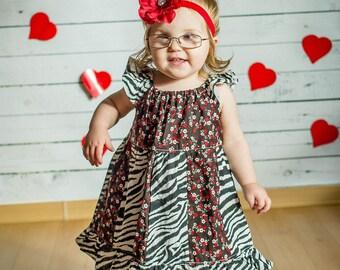 HOLIDAY Red Flower Headband with Multi Rhinestone Gem--Valentines Day--ChRiStMas