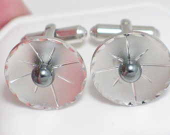 Vintage estate mens hematite sterling silver cufflinks / cuff links
