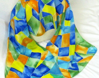Silk Scarf, Hand Designed,Apricot,Blue, Green,CrepeDe Chine, Silk Stained Glass,Or Table Runner
