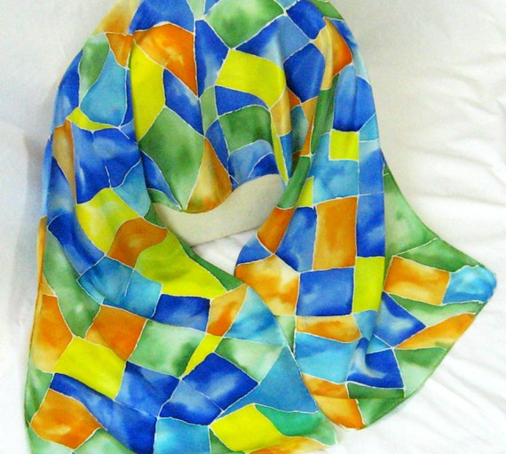 Silk Scarf, Hand Designed,Womens Fashion,Apricot,Blue, Green,CrepeDe Chine, Silk Stained Glass