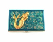 Metal Card Case Mermaid Inlaid in Hand Painted Turquoise Swirl Design Siren Credit Card Holder Glossy Enamel Finish