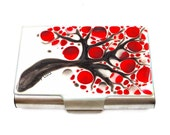 Business Card Case Metal Wallet Blossom Cigarette Case Hand Painted Large Card Holder Glossy Enamel Finish Customizable