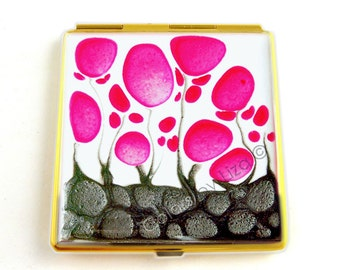 Square Compact Mirror Fuchsia Flowers Hand Painted Enamel Pocket Mirror with Personalized and Color Options
