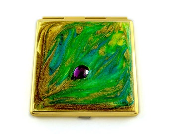 Square Compact Mirror Peacock Inspired Inlaid in Hand Painted Enamel Custom Colors and Personalized Options
