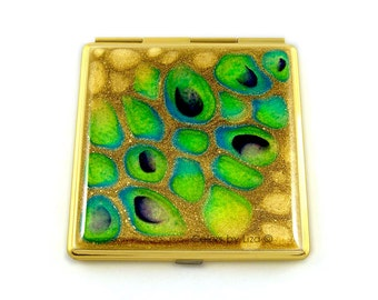 Square Compact Mirror Peacock Inspired Hand Painted Turquoise and Gold with a Glossy Enamel Finish Custom COlors and Personalized Options